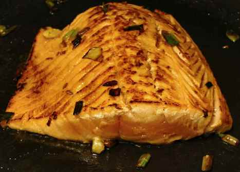 Pan-seared salmon, ready for the microwave