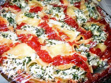 Stuffed shells in the microwave