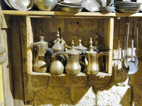 Toucan-beaked finjanim (coffee pots) from the Ethnographic and Folklore Museum in Akko, Israel