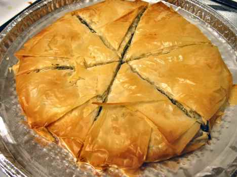 Round spare spanakopita just for us after the big kiddush