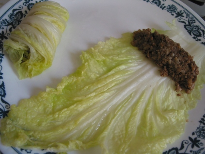 rolling stuffed cabbage