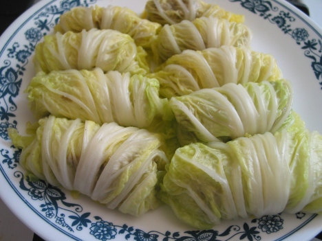 stuffed Nappa cabbage rolls-unsauced