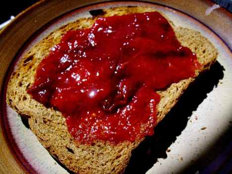 Microwave plum jam on wholewheat toast