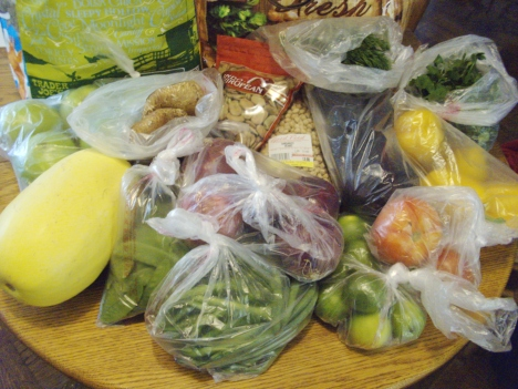 A weekly haul from my greengrocer's comes in under $30 even with coffee, spices and special items.