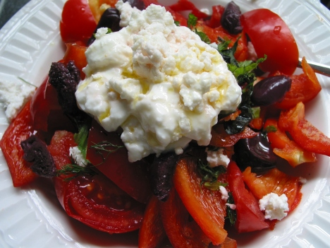 Tomato and pepper salad with feta, herbs, and yogurt
