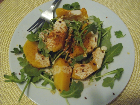 Butternut squash salad with tehina