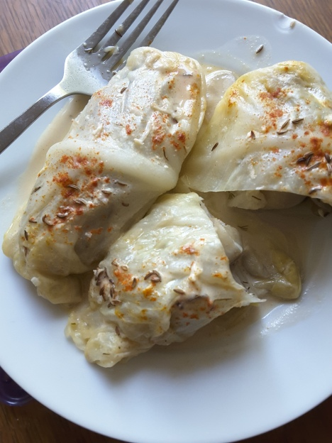 Cabbage rolls with giant fava beans and tehina sauce